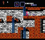 The Goonies II NES Fighting purple guys on a stony level