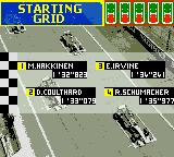F1 Racing Championship Game Boy Color Starting Grid.