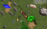 Ultima VII: The Black Gate DOS Exploring a tropical region during the day. In front of us is a Moongate! Also, I just dropped a bunch of stuff on the ground