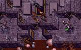 Ultima VII: The Black Gate DOS Dark castle with ominous statues...