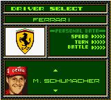 F1 World Grand Prix II for Game Boy Color Game Boy Color Driver select.