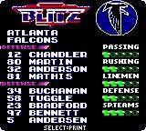 NFL Blitz Game Boy Color Team selection.