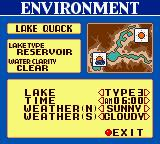 Bass Masters Classic Game Boy Color Practice mode. Environment.