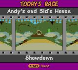 Disney•Pixar Toy Story Racer Game Boy Color Today's race. Andy's and Sid's House. Showdown.