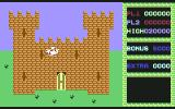 Cavelon II Commodore 64 The knight flying toward the castle