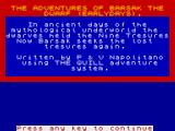 Adventures of Barsak the Dwarf ZX Spectrum Title Screen
