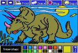 Electric Crayon Deluxe: Dinosaurs Are Forever Apple II Triceratops was well defended with its solid frill, 2 horns above the eyes and 1 horn above its snout