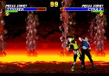 "Ultimate Mortal Kombat 3 Genesis The ""Demo"" begins with Stryker and Cyrax"