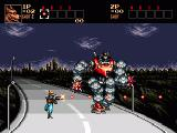 Contra Hard Corps Genesis Some levels have innovative gameplay. This boss is chasing you, running on the freeway with attacks from all sides.