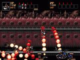 Contra Hard Corps Genesis Shooting bikers from the side of a train