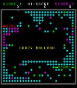 Crazy Balloon Arcade Title screen in the process of being filled up with spiky balls.