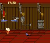 Splatterhouse: Wanpaku Graffiti NES Attacked by chainsaws in the torture room