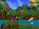"Doraemon 2: SOS! Otogi no Kuni PlayStation Takeshi Gouda (""Jaian"") is throwing bombs or so."