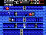 Knightmare II: The Maze of Galious MSX When you pause the game the knight does his... things