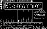 Backgammon DOS The game has a command line option to play in monochrome. This is how the monochrome title screen looks