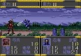 Ninja Burai Densetsu Genesis Battle scene: the main character (ninja) attacking the enemy archer
