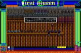 First Queen II: Sabaku no Joō Sharp X68000 Weapon shop, at the bottom of the screen the X68000 version displays not only life (health), but max life and  character's level as well