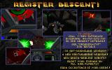 Descent DOS Ordering information splash screen (shareware version).