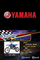 Yamaha Supercross Nintendo DS Bike selection