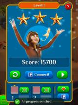 Pyramid Solitaire Saga iPad The after-level stats (pictures and names blurred for privacy)