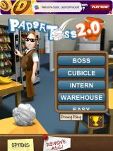 Paper Toss 2.0 iPad Title and main menu