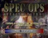 Spec Ops: Stealth Patrol PlayStation Title screen.