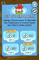 Cut the Rope: Experiments Android Not smart enough to finish a level? Then go ahead and buy some game-breaking superpowers for real money!