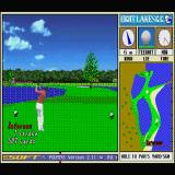 New 3D Golf Simulation: Eight Lakes G.C. Sharp X68000 The 18th hole leaves very little margin for error - if you manage to avoid the water the ball is mostly likely going to end up in the bunker