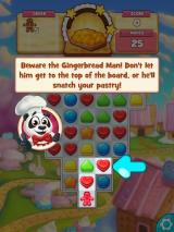 Cookie Jam iPad Don't let the gingerbread man get to the top or he will steal your pastry.
