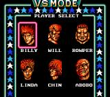 Double Dragon NES The VS. Mode's Player Select screen.