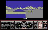 Hard Drivin' Commodore 64 Heading towards a bridge