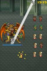 Final Fantasy: All The Bravest Android A boss, Chaos, being blasted with white magic and pelted with arrows