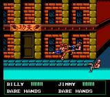 Double Dragon III: The Sacred Stones NES The Lees' new Double Whirlwind Kick sends Gibson and Robinson flying.