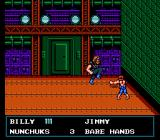 Double Dragon III: The Sacred Stones NES At the hideout of the gang, where Billy faces Willy's brother, Jim.