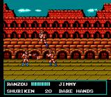 Double Dragon III: The Sacred Stones NES Ranzou throws a shuriken to one of the roman fighters.