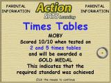 Action SATS Learning: Key Stage 1 4-7 Years: Times Tables Windows At the end of a test there's a progress report for the parents
