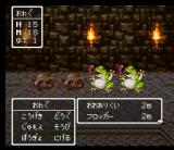 Dragon Warrior III SNES Fighting frogs and other guys in a dungeon