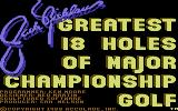 Jack Nicklaus' Greatest 18 Holes of Major Championship Golf Commodore 64 Title screen