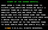 "The Demon Crystal PC-88 Story, unlike in the Sharp X1 version where it said ""towm"" here they spelled town correctly"