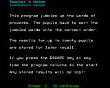 Word Sequencing BBC Micro Teacher's notes pt. 1