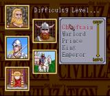 Sid Meier's Civilization SNES Select difficulty level
