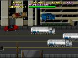 Last Action Hero SNES The Movie-World car chase scene involves lots of insane stunts, like high air leaps and cars crashing into explosive fuel trucks