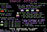 Snack Attack Apple II Title and instructions