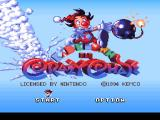 Kid Klown in Crazy Chase SNES Title Screen