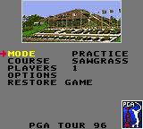PGA Tour 96 Game Gear Menu