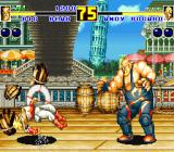 Fatal Fury 2 Sharp X68000 Andy Bogard breaks some barrels in his stage