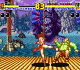 Fatal Fury 2 Sharp X68000 Mai Shiranui kicking a fat guy