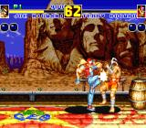 Fatal Fury 2 Sharp X68000 Terry Bogard's stage is set on a train car quickly moving along the tracks past Mount Rushmore
