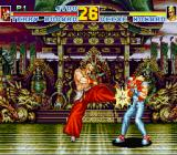Fatal Fury Special Sharp X68000 Geese Howard kicking Terry Bogard