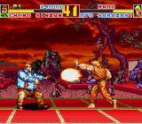 Fatal Fury Special Sharp X68000 Ryo Sakazaki firing a projectile against Cheng Sinzan